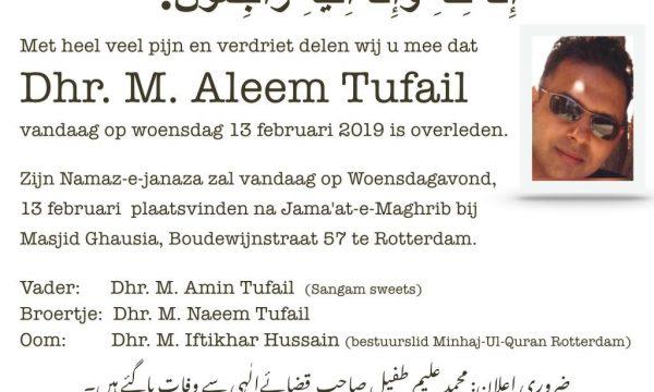 Overlijden Aleem Tufail